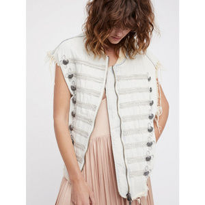 Free People Striped Military Officer Cutoff Vest
